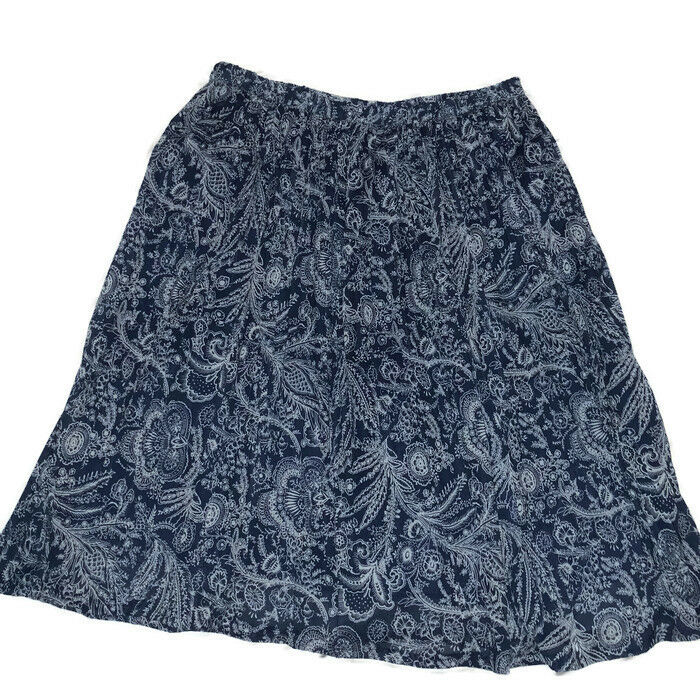 ae3fe64eb96c0 Details about Cathy Daniels Skirt Sz 2x Floral Lined Blue White Career A  Line Stretchy Plus