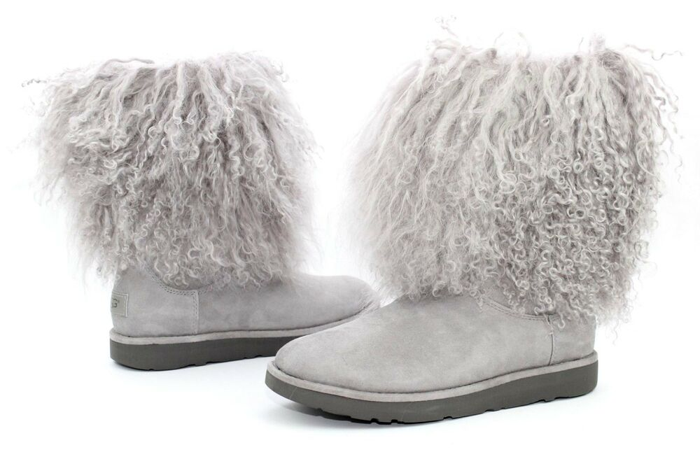 7c18f26cf48 UGG LIDA CURLY MONGOLIAN SHEEPSKIN SUEDE SEAL GREY BOOT WITH THE FUR ...