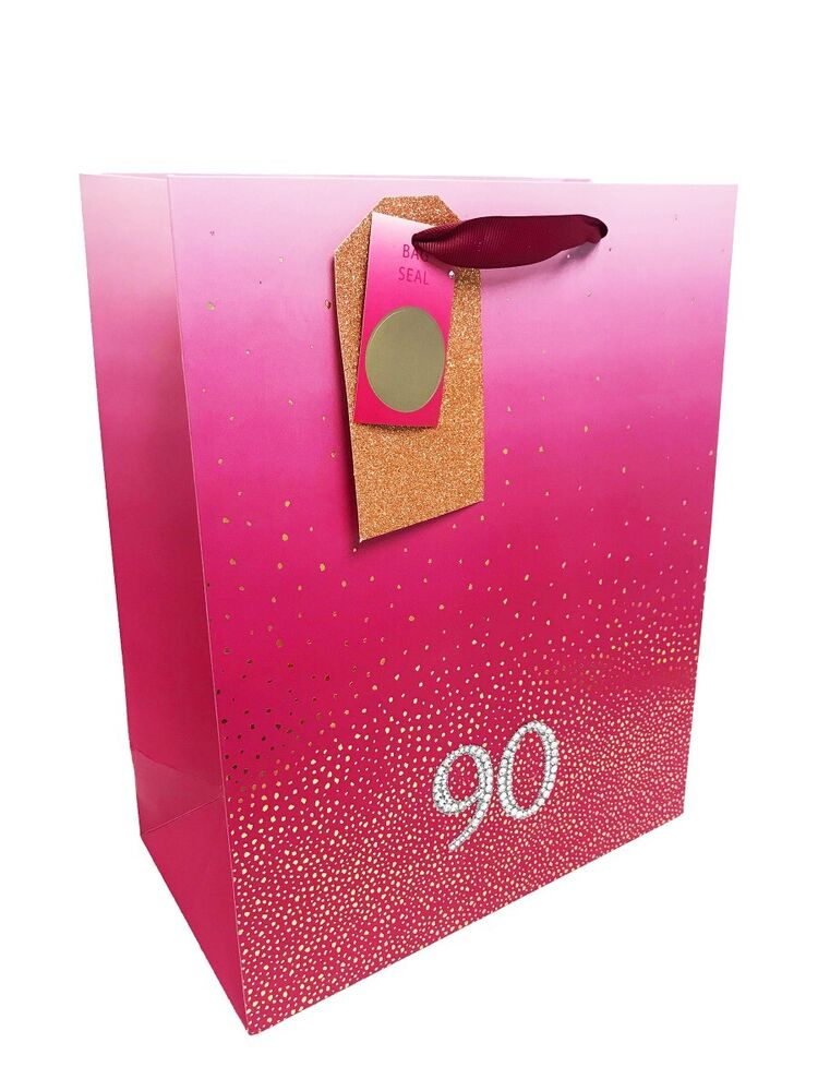 90th Birthday Bag Gift Large Age Women Ladies Pink 90 Luxury Present Wrapping 5056234288856