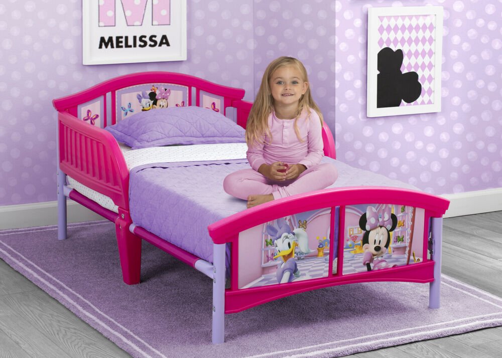 Toddler Bed Frame W Sleigh Rails Minnie Mouse Baby Girl