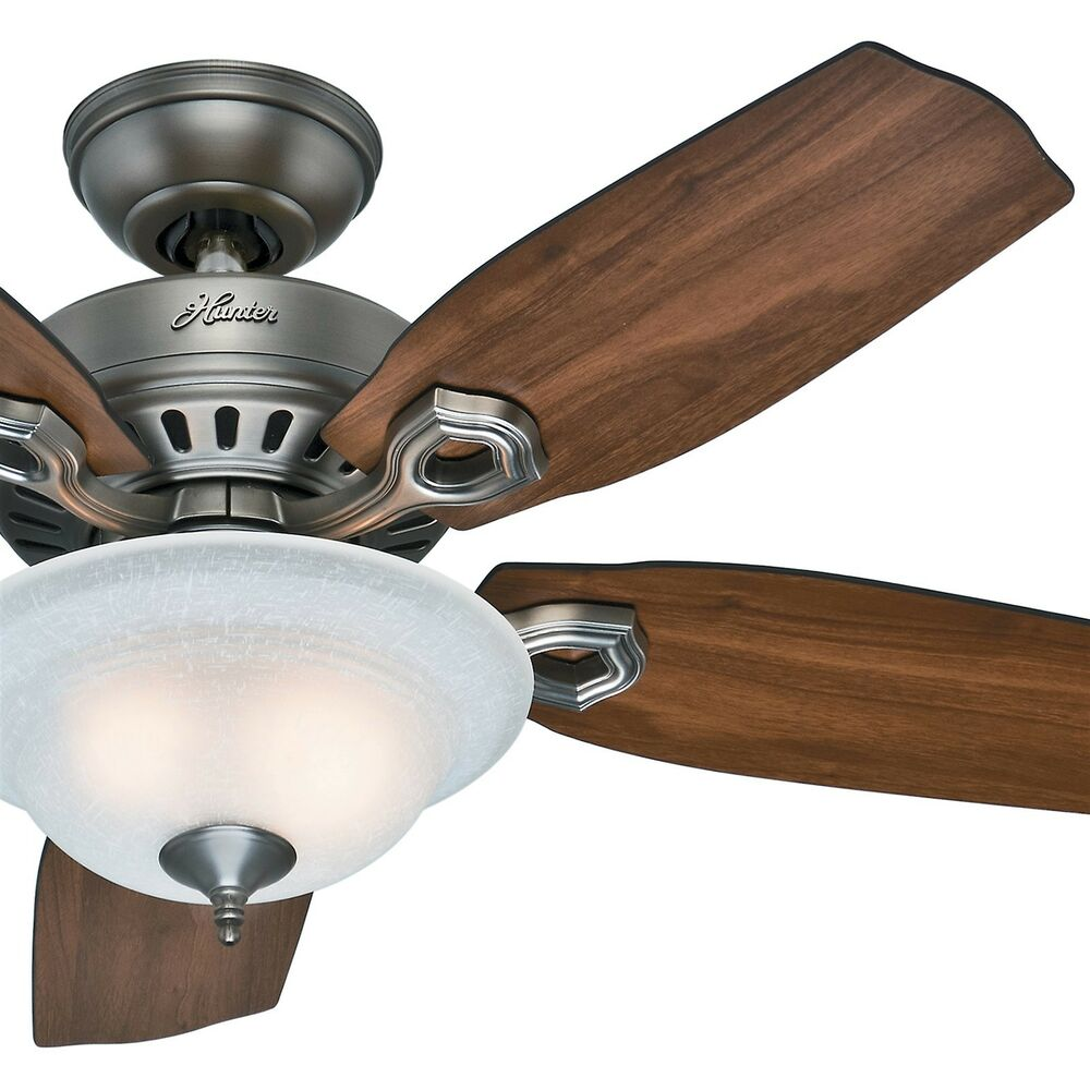 Details About Hunter Fan 44 Inch Antique Pewter Ceiling With Bowl Light Kit W Linen Gl
