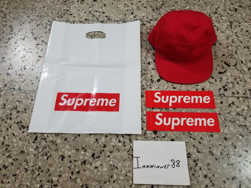Details about Supreme SS18 Arc Logo Shockcord Camp Cap red + 2 box logo  stickers + bag NEW aa81804dcb6