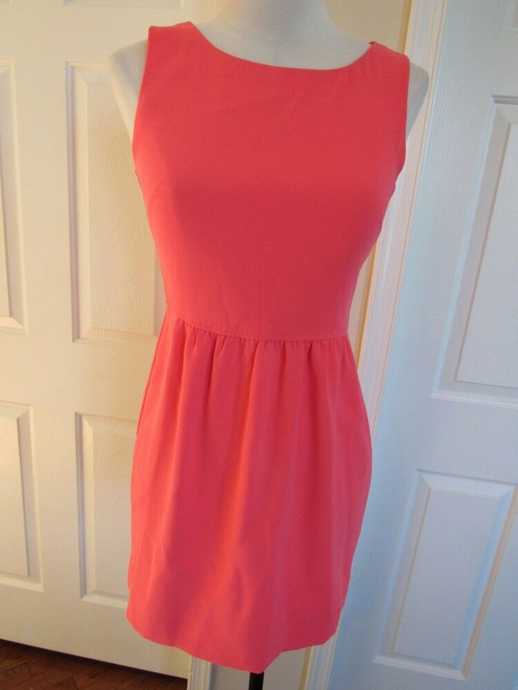 f461e6568d Details about J. Crew Women s Bright Peach Camille Crepe Sleeveless Lined  Dress Size 0