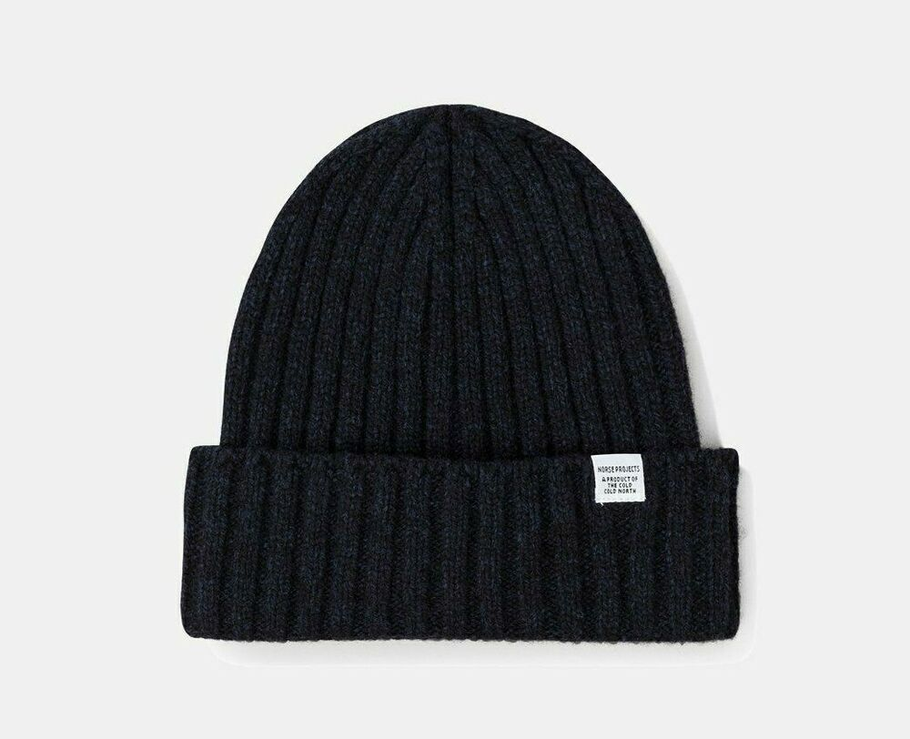 17330a3faa5 Details about NWT - NORSE PROJECT  YORK BEANIE  WIDE RIB WOOL Dark Navy  BEANIE - OS