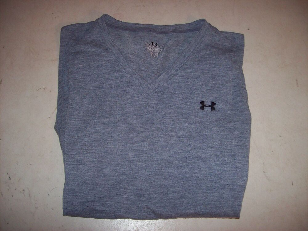 Details about Under Armour Women s Medium Gray Semi-Fitted Dri-Fit V-Neck  Tee T-Shirt EUC 6d97b76c0
