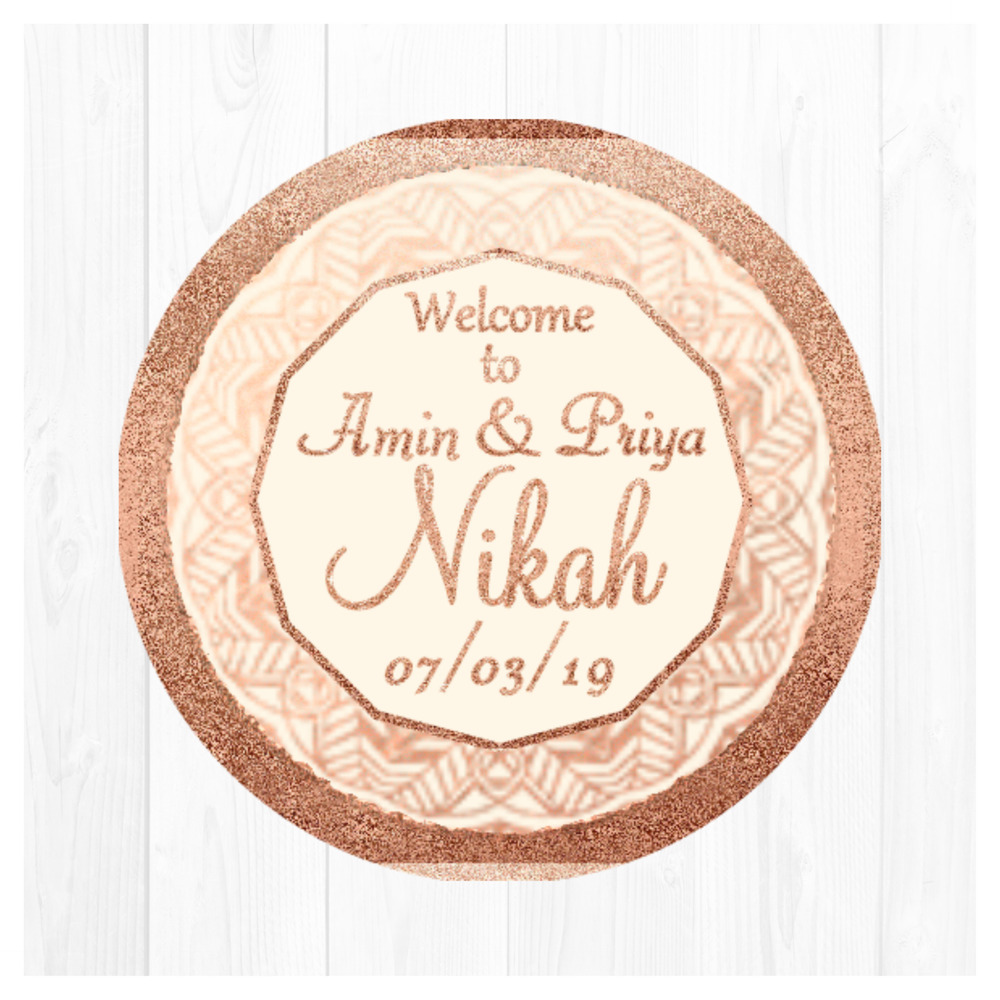 Details about rose gold walima mehndi mandala personalised stickers wedding favours sweet cone