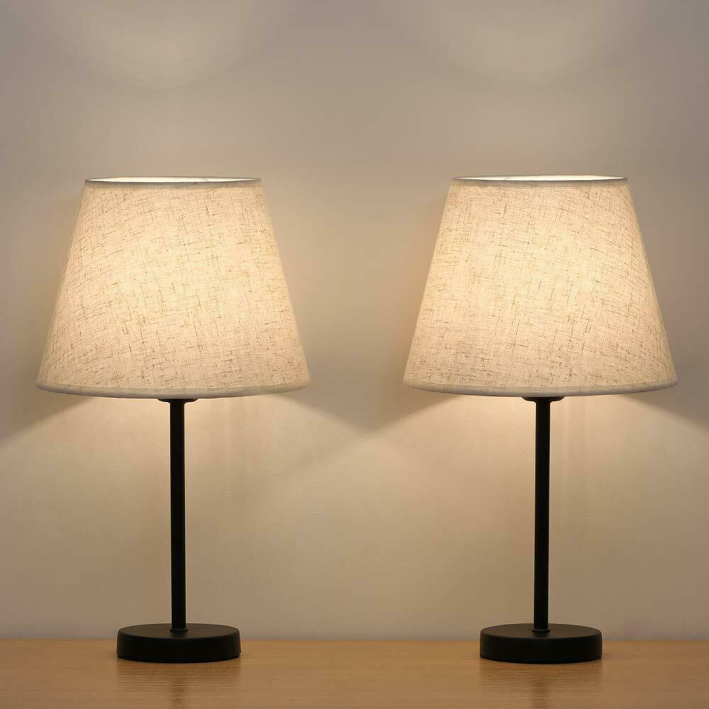Lamps For Bedroom Nightstands: Small Nightstand Lamps Set Of 2 With Fabric Shade Bedside