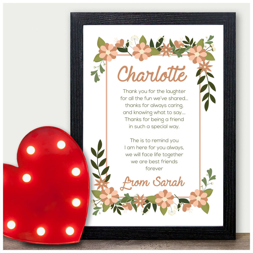 Details About Personalised Best Friends Friendship Poem Birthday Gifts For BFF Her Presents