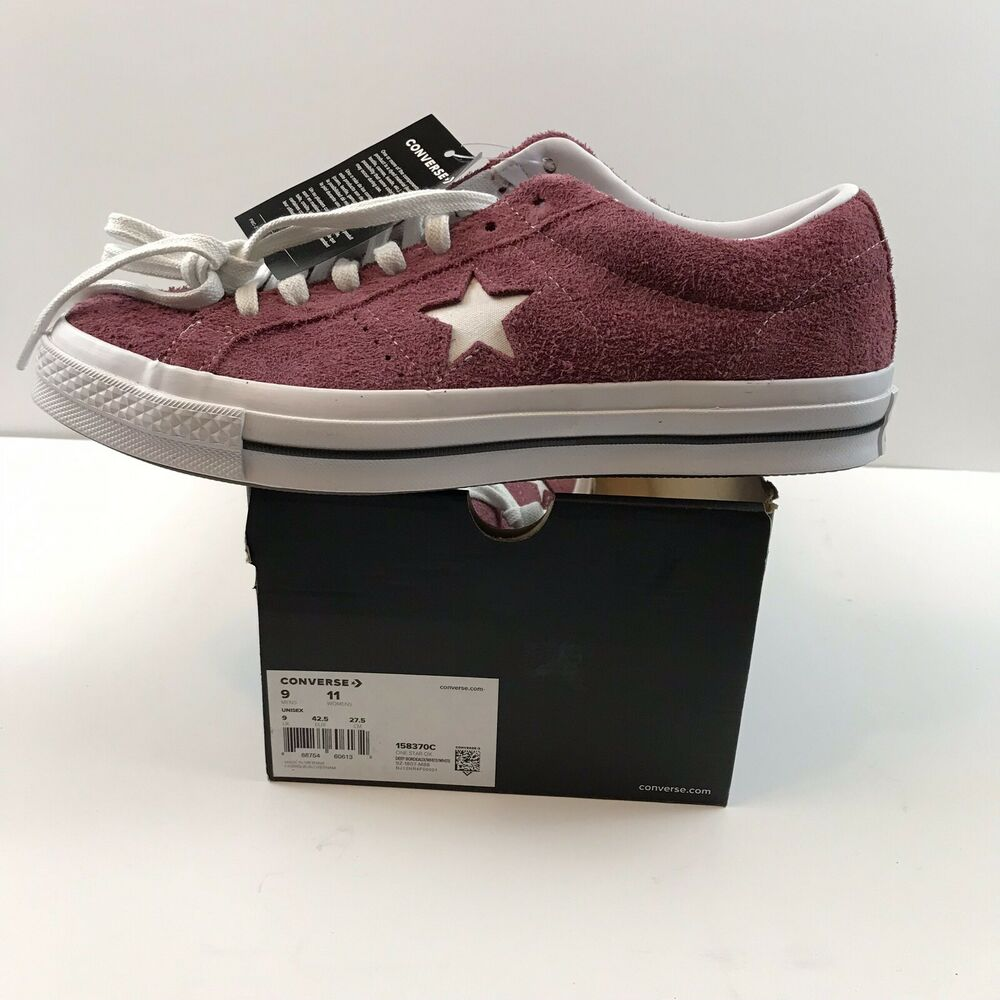653df2bedacb Details about New Mens 9 Converse Maroon One Star Ox Suede Trainers  Plimsolls Lace Up 158370C