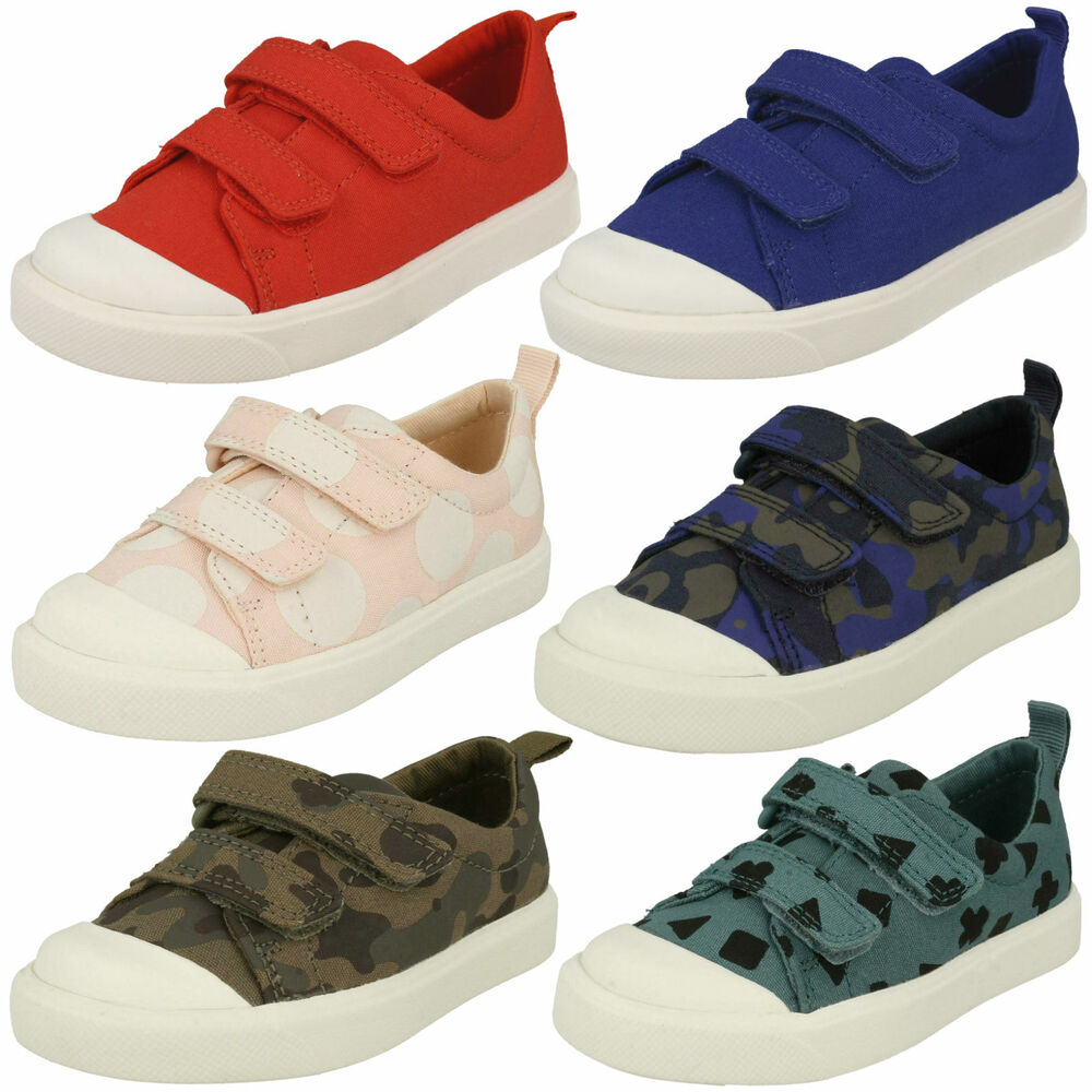 a6a2291fbb9a0 Details about BOYS GIRLS CLARKS DOUBLE STRAP TODDLER CASUAL CANVAS SHOES  PUMPS CITY FLARE LO T