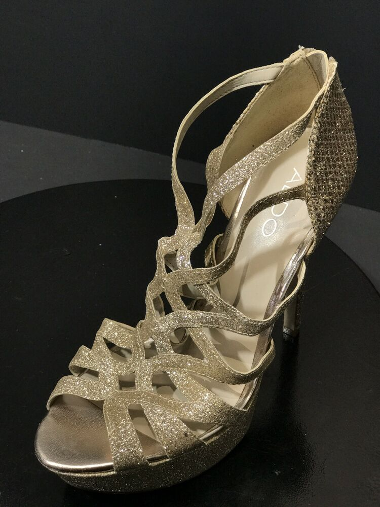 4ce2301b26 Details about New Aldo Women's Metallic Gold Sparkly Strappy High Heels  Shoes Size US 7.5 M