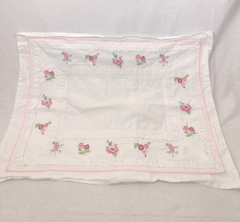 Pottery Barn Pillow Kids: Pottery Barn Kids Pillow Sham Pink White Embroidered