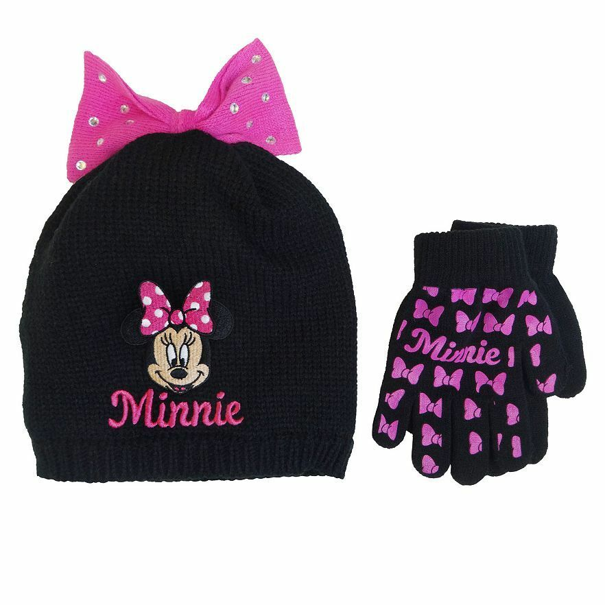 60a1c4790e7 Details about NWT Disney s Minnie Mouse Bow Knit Beanie Hat   Glove Set -  Girls 3-6