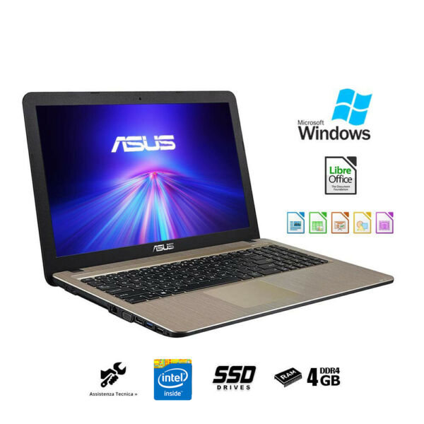 Asus vivobook Notebook AMD A4-9125,SSD 256Gb,Ram 4Gb pc portatile Windows 10 PRO