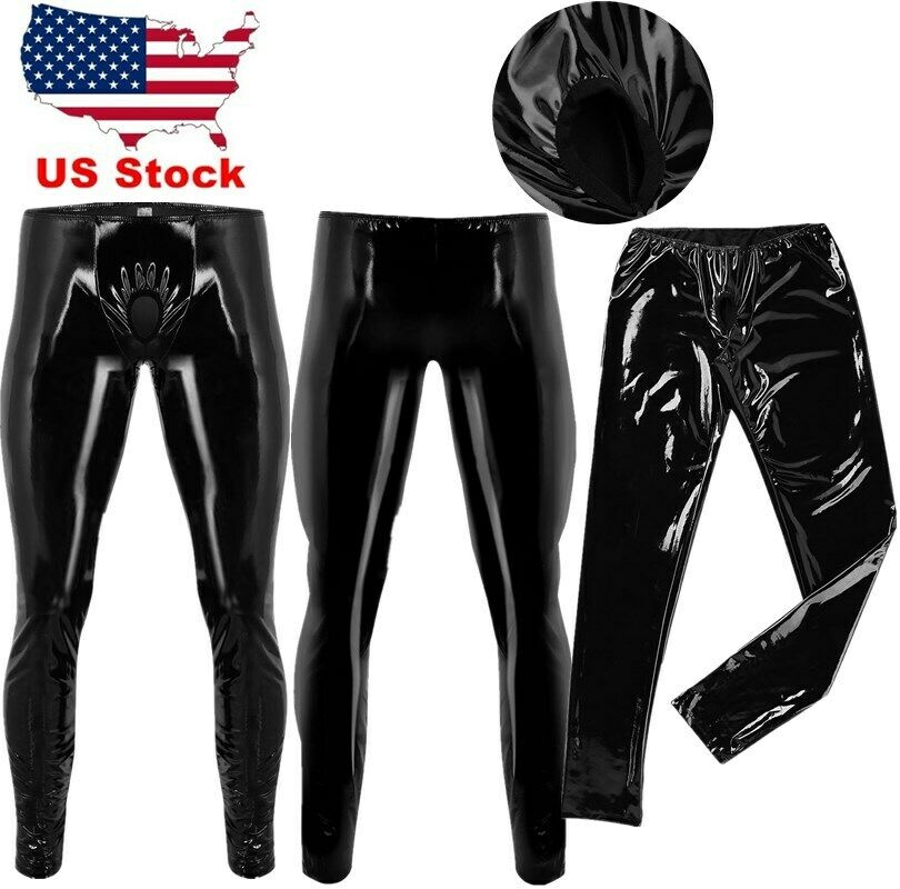 f968ff773768e Details about US Latex Pants Sexy Mens Shiny Leather Open Hole Tight Pants  Leggings Trousers