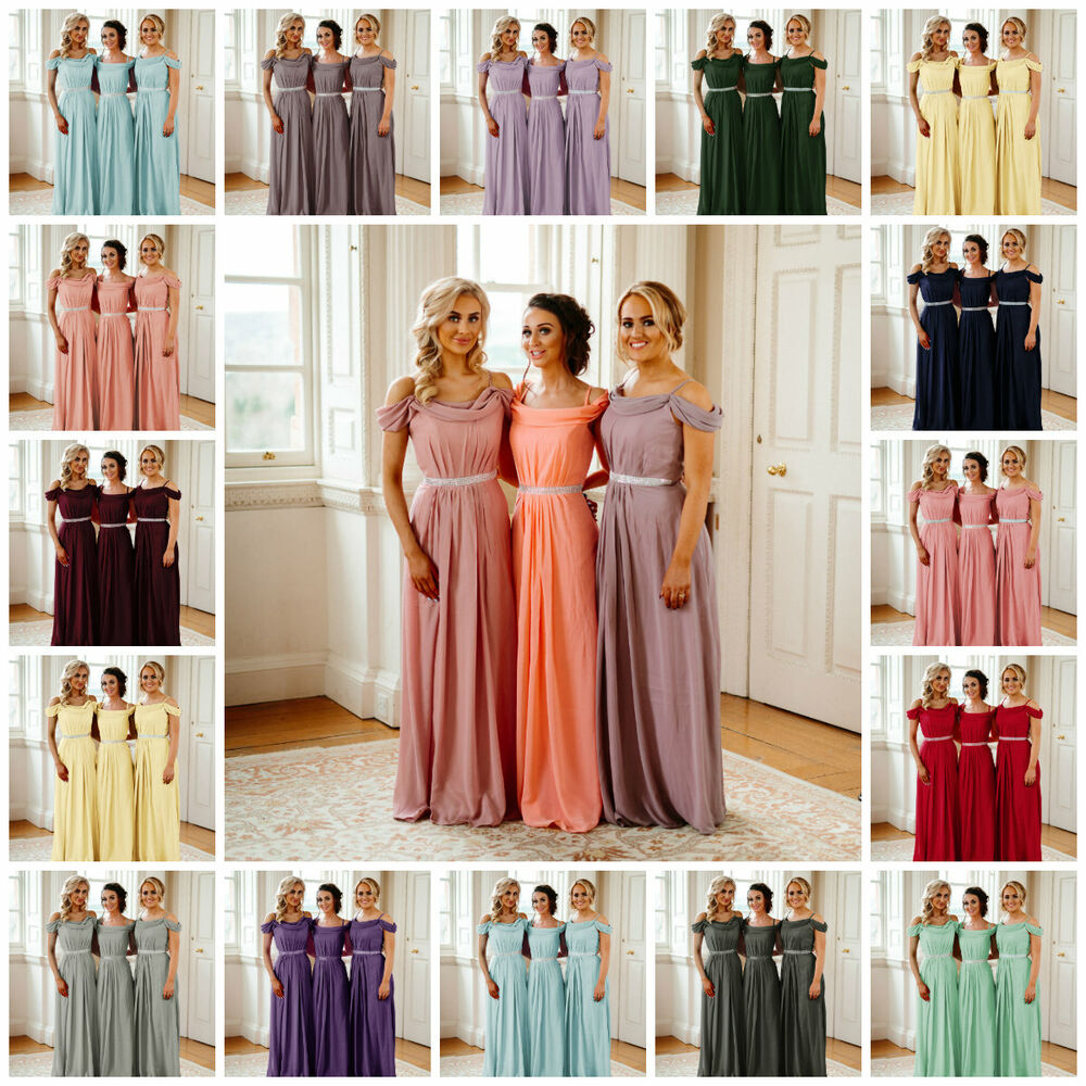 61c18f6e17d3 Details about Off Shoulder Chiffon Bridesmaid Dresses Wedding Long Prom  Maxi Ballgown Uk