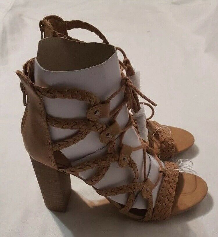 c0c9bcd8fed4 Details about New Women s Merona Taupe Kolbi Braided Ghillie Heeled  Gladiator Sandals Size 9.5