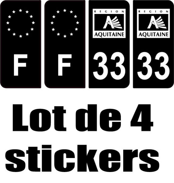 4 Autocollants 2 paires Stickers style Auto Plaque FULL Black noir F+ 33 Région
