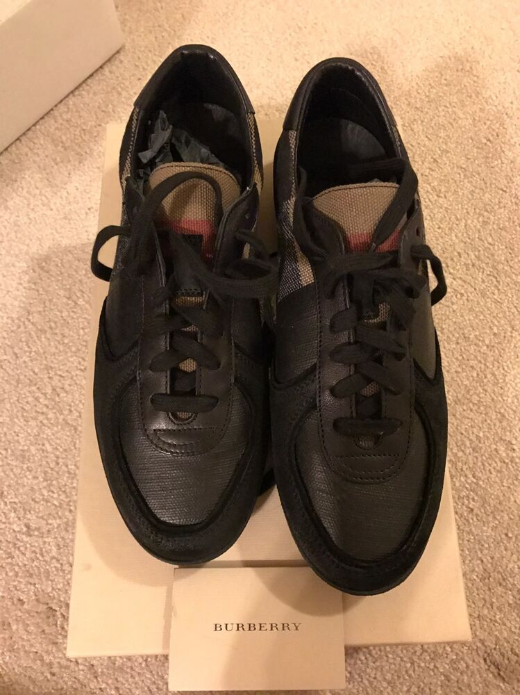 727a8aef96c Details about New Authentic Burberry Men Black Lowtop sneakers Shoes Logo  Nova Check 40 7  590
