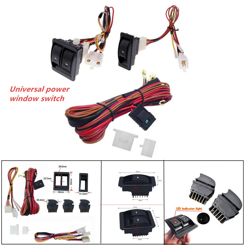 details about universal car electric power window switch&12v wire harness  kit for 2 doors type