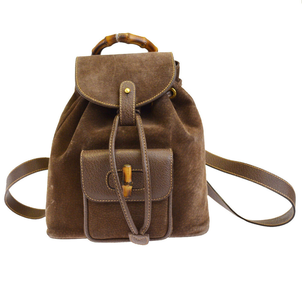 5e0fae93c86 Details about Authentic GUCCI Logos Bamboo Mini Backpack Bag Sude Leather  Brown Italy 69BF208