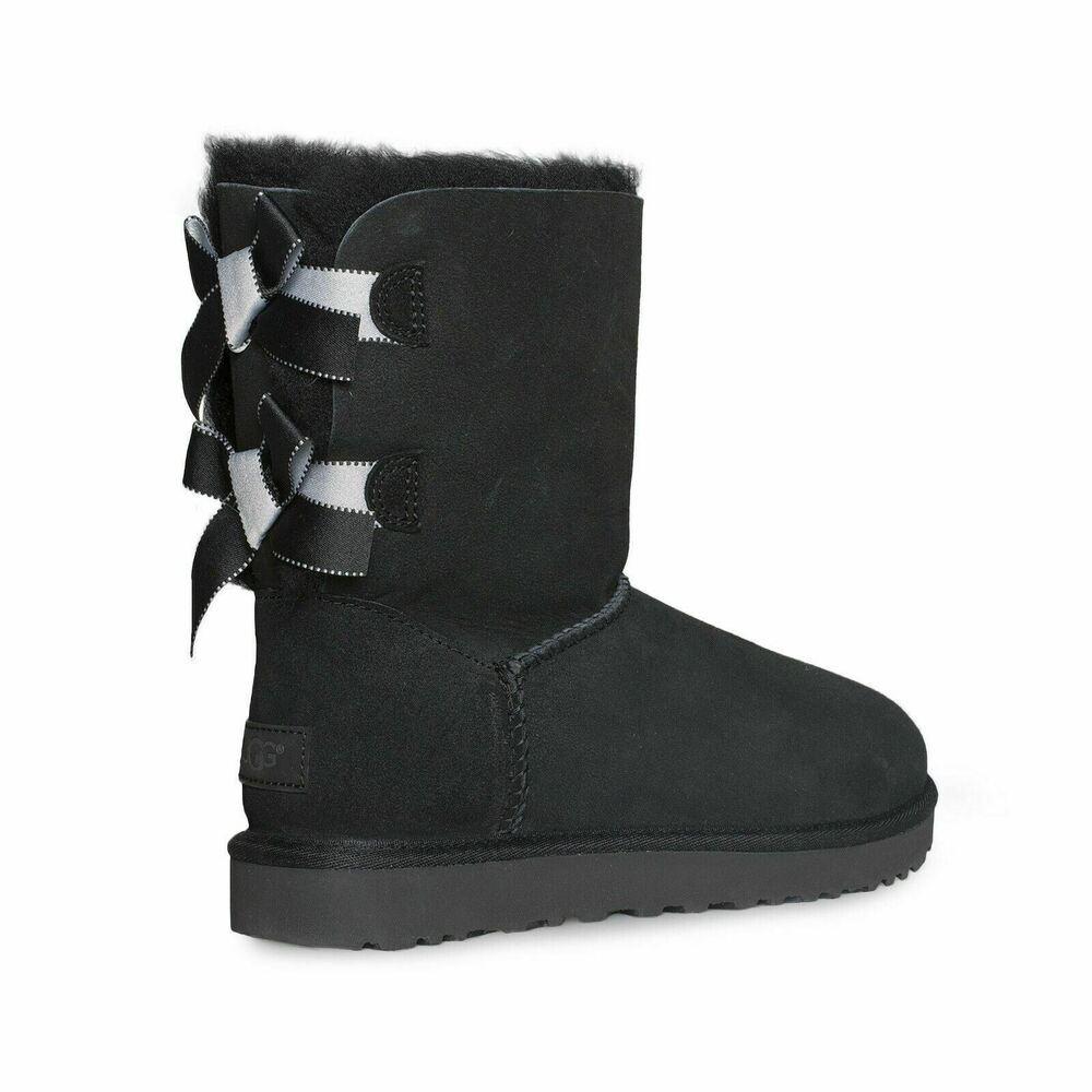 3840d401cbf Details about ugg bailey bow ii shimmer black sheepskin short women boots  size us new jpg