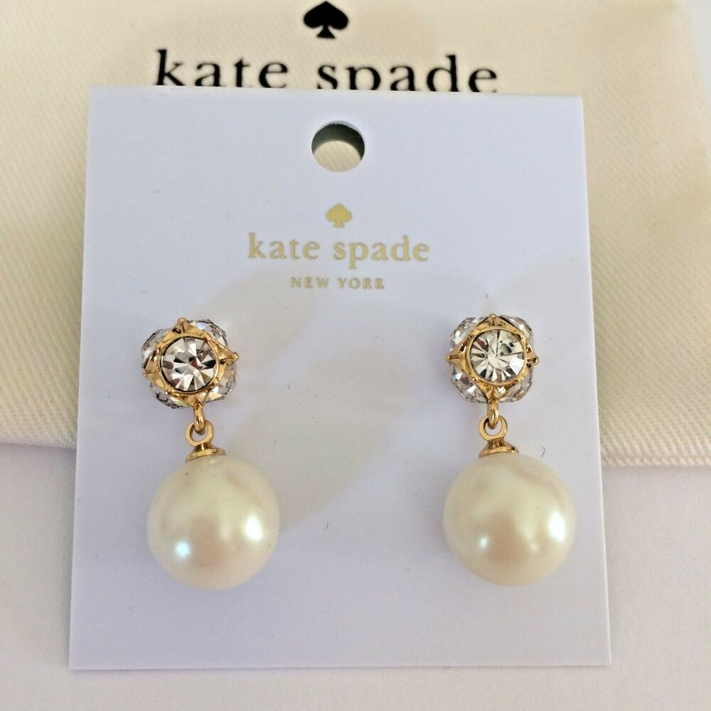 69a93106d5a65f Details about NWT Kate Spade New York Lady Marmalade CREAM/GOLD Pearl  Earrings O0RU1959