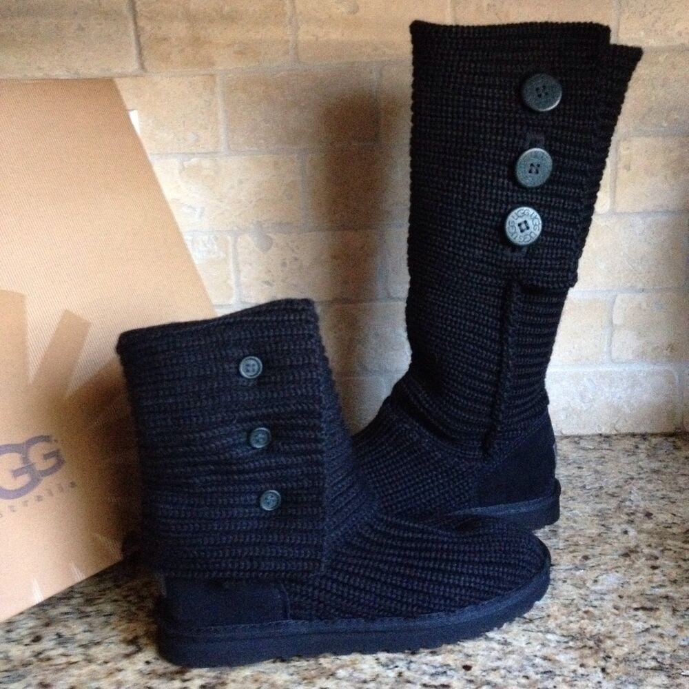 570d82cfd7f UGG CLASSIC CARDY BLACK KNIT BUTTON TALL / SHORT BOOTS SIZE US 11 WOMENS |  eBay