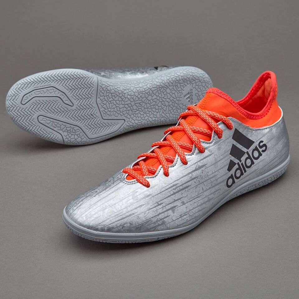 2e4f93b3876 Details about ADIDAS MEN S SOCCER X 16.3 INDOOR FOOTBALL SOCCER SHOES  SILVER BLACK INFRARED 12