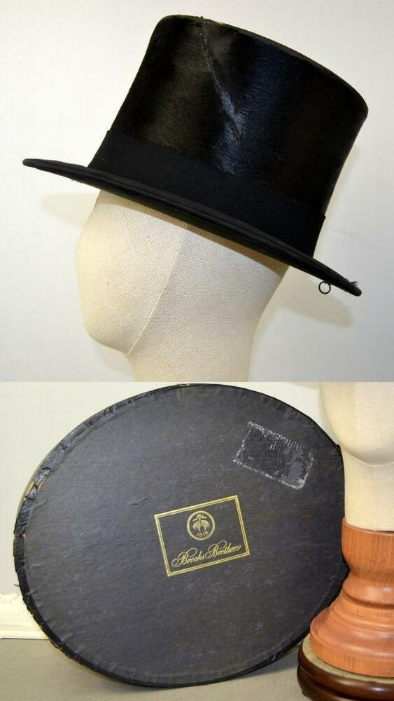 c28f4178e00ac Details about vintage antique Brooks Bros top hat beaver silk box Herbert  Johnson Bond St