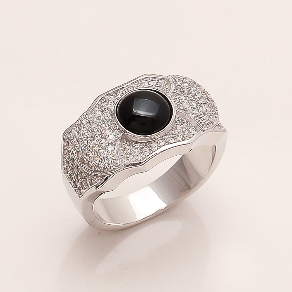 Silver and onyx mens ring