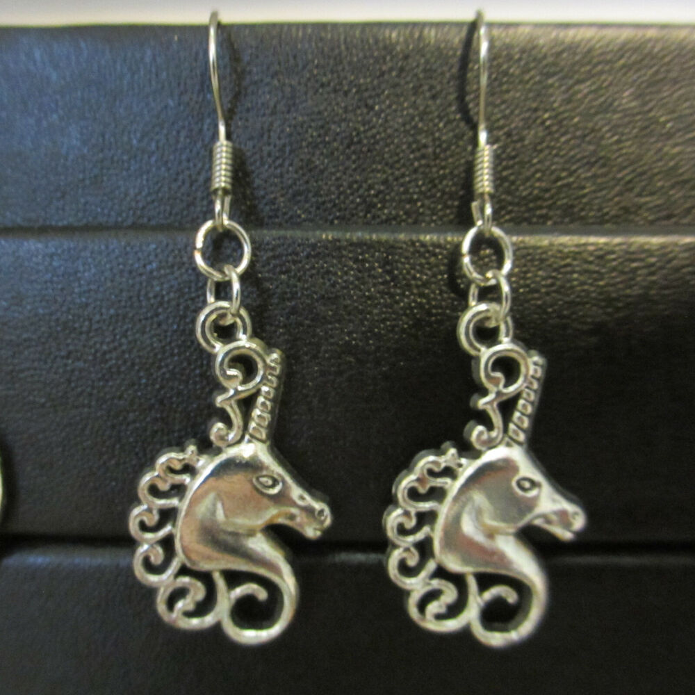 Details About Very Cute Unicorn Earrings Minimalist Homemade Hippie Special Jewelry