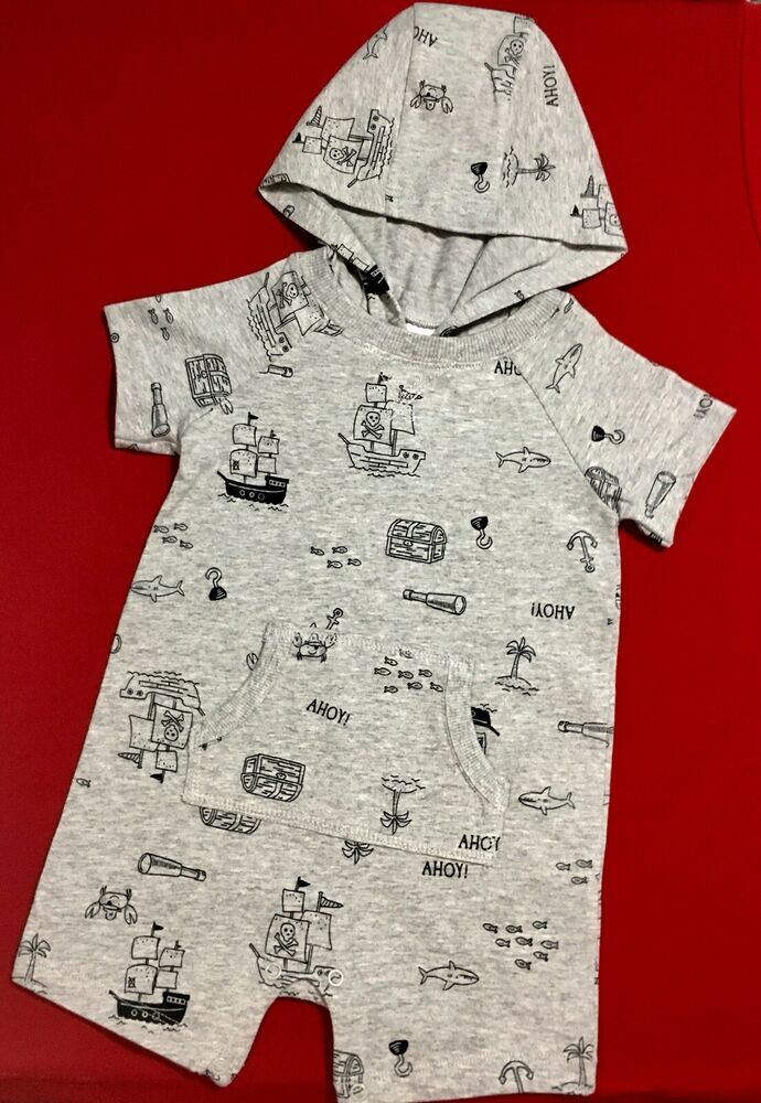 1470eb8bc Details about CARTERS Infant Boy One Piece Gray Short Sleeve Hooded Romper,  6M, Retails $18