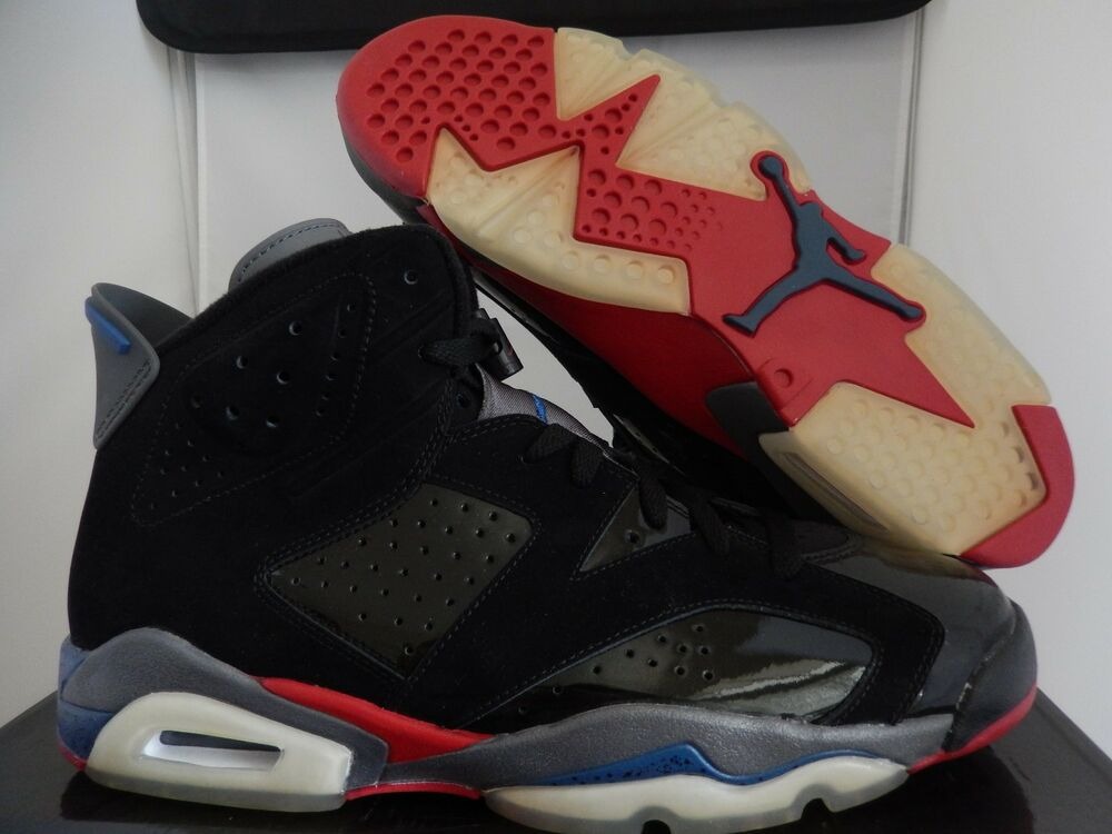 new concept 4f3a4 fa2cd Details about NIKE AIR JORDAN 6 RETRO BLACK-RED-TRUE BLUE SZ 11 PISTONS!   384664-001