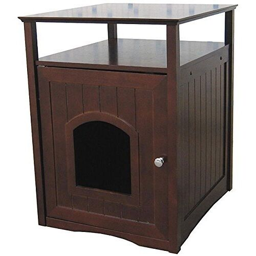 Details About Litter Box Furniture Cat Storage Display Mdf Shelf Wood Walnut Pet New