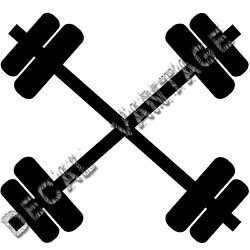 Crossed Barbells Vinyl Sticker Decal Weights Lift - Choose Size & Color