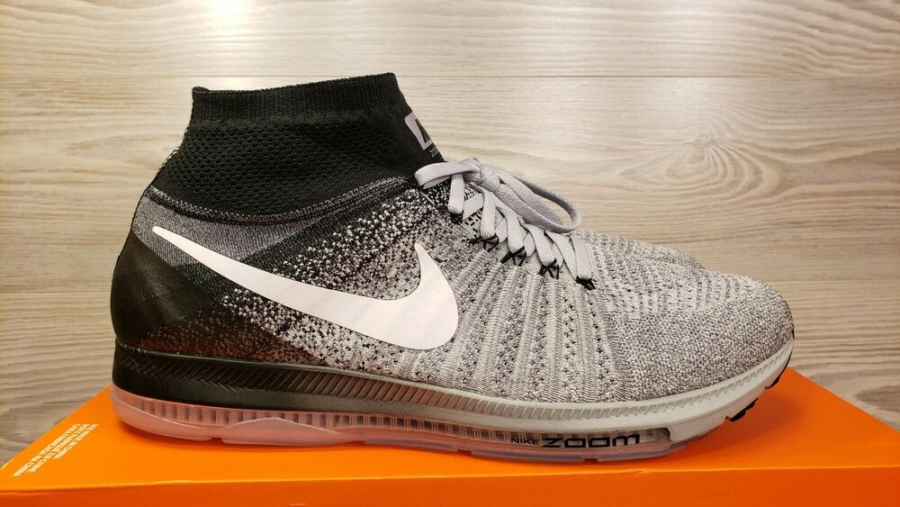 save off 0f7c5 33241 Details about Nike Zoom All Out Flyknit Oreo Wolf Grey White Black Running  844134-003 Pick Sz
