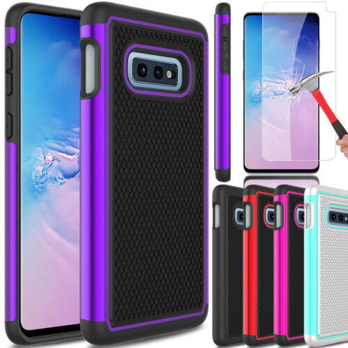 For Samsung Galaxy S10e Hybrid Rugged Armor Phone Case + Glass Screen Protector