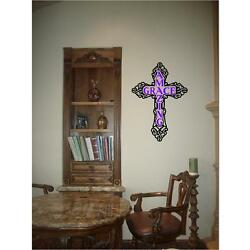 Amazing Grace Christian Cross wall decal sticker art for HOME or CHURCH