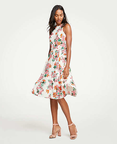 ffc442bd933 Details about NWT Ann Taylor Petite Floral Halter Bow Back Flare Dress -  Size 00P