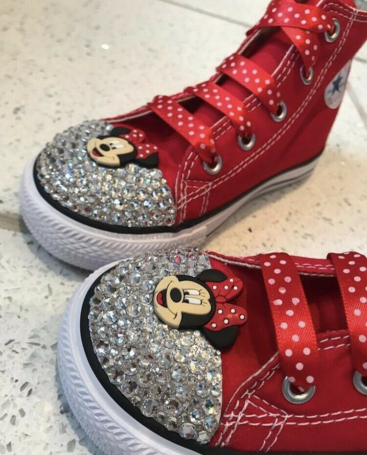 d51048596e13 Details about Minnie Mouse Crystal Bling Converse Kids Toddler Infant  Junior Childrens Shoes