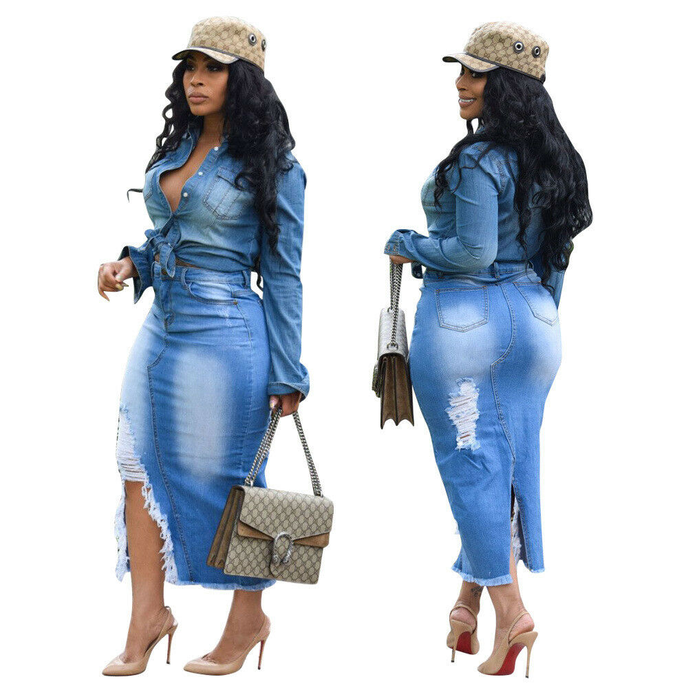 d4ed93c3d Details about Women Burn Out Ripped Tassel Jeans Casual Bodycon Party Club  Slit Denim Skirts