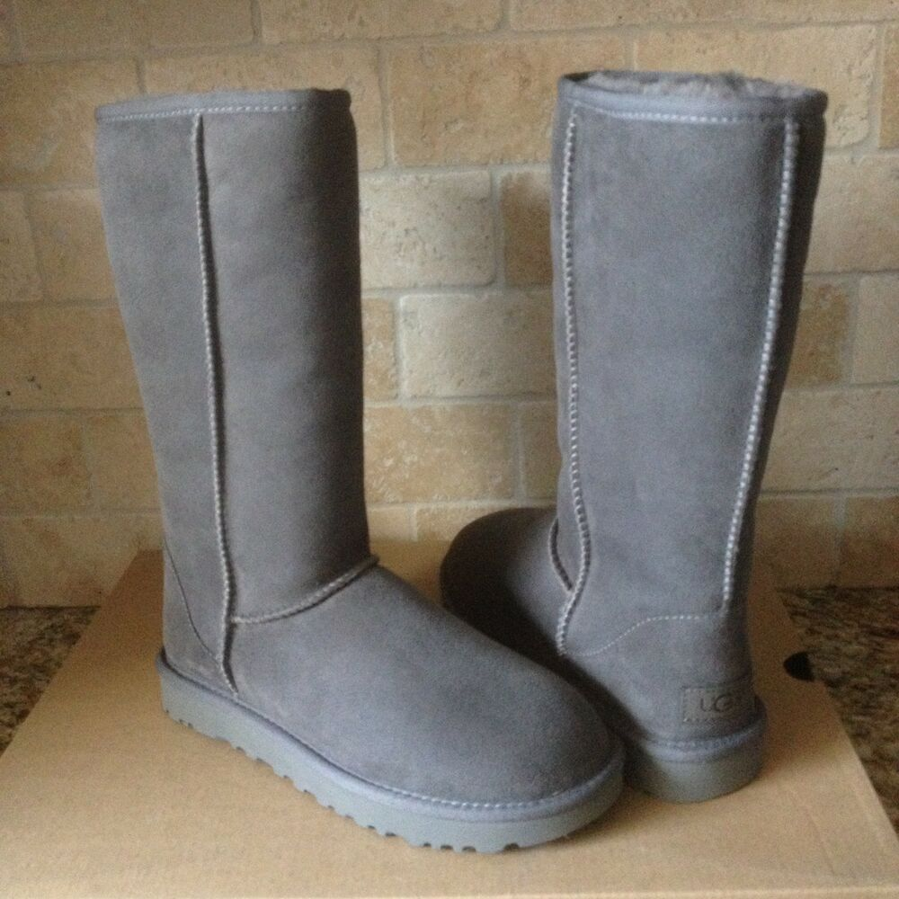 502c9634ee1 UGG Classic Tall II 2.0 Gray Grey Water-resistant Suede Boots Size US 12  Womens | eBay