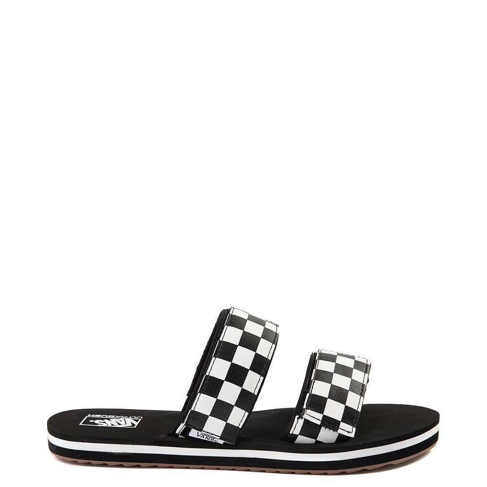 6eac563d9c Details about Vans Cayucas Chex Slide Sandal Black White Marshmallow  Checkerboard WOMENS New