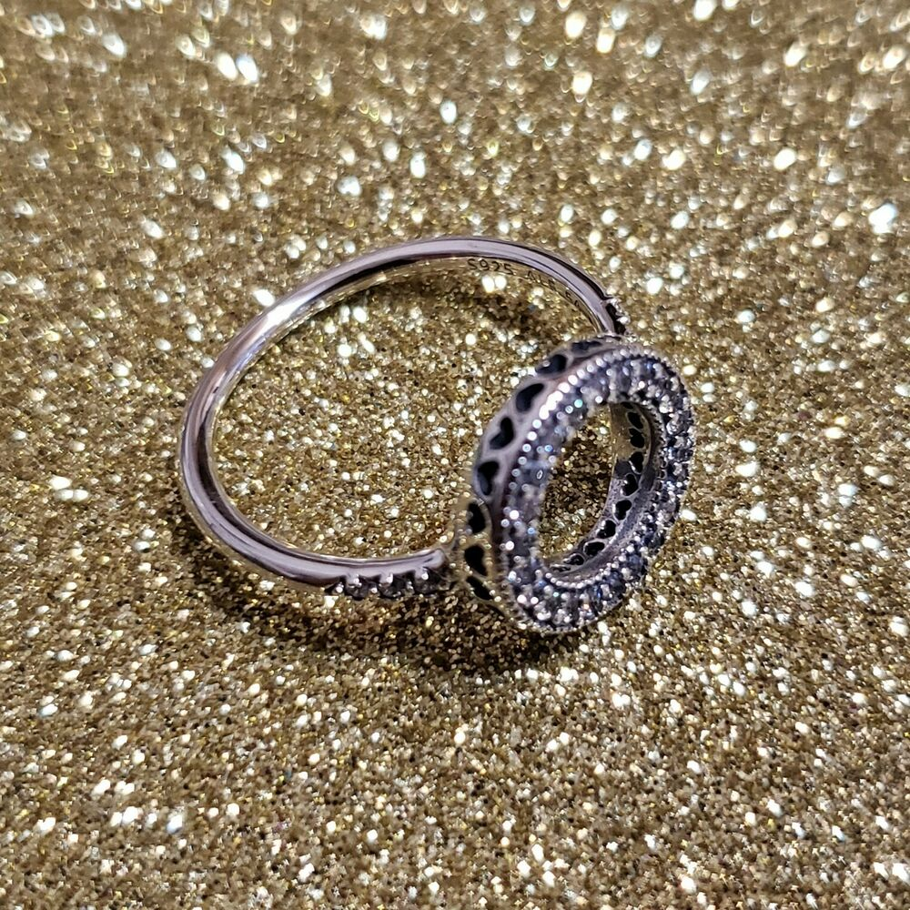 4baa9a6d9 Details about New Authentic Silver 925 Hearts of Pandora Halo Ring 191039CZ  Size 7/54