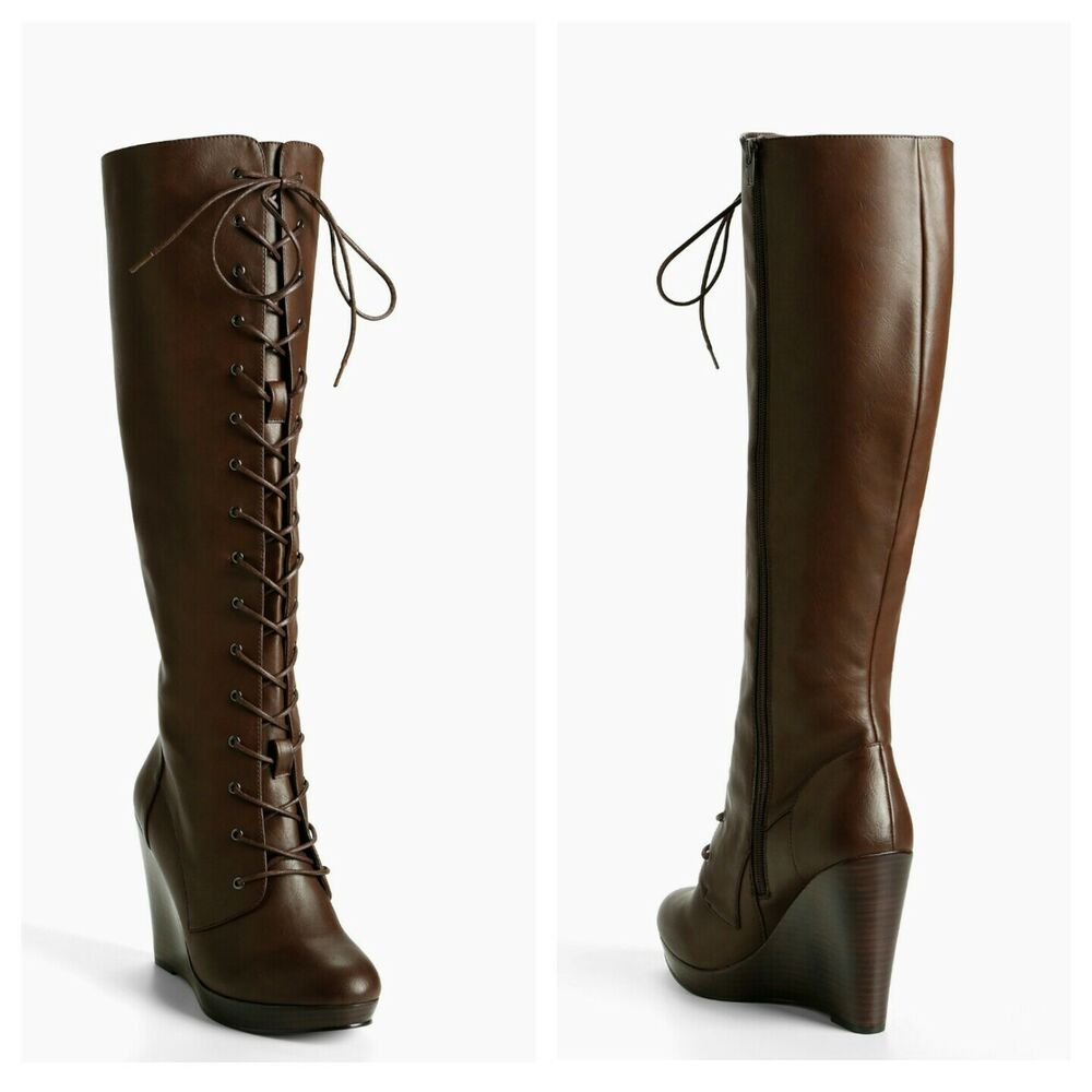 19403c87e0b Torrid Size 9.5W Brown Lace Up Combat Wedge Boots (Wide Width & Wide ...