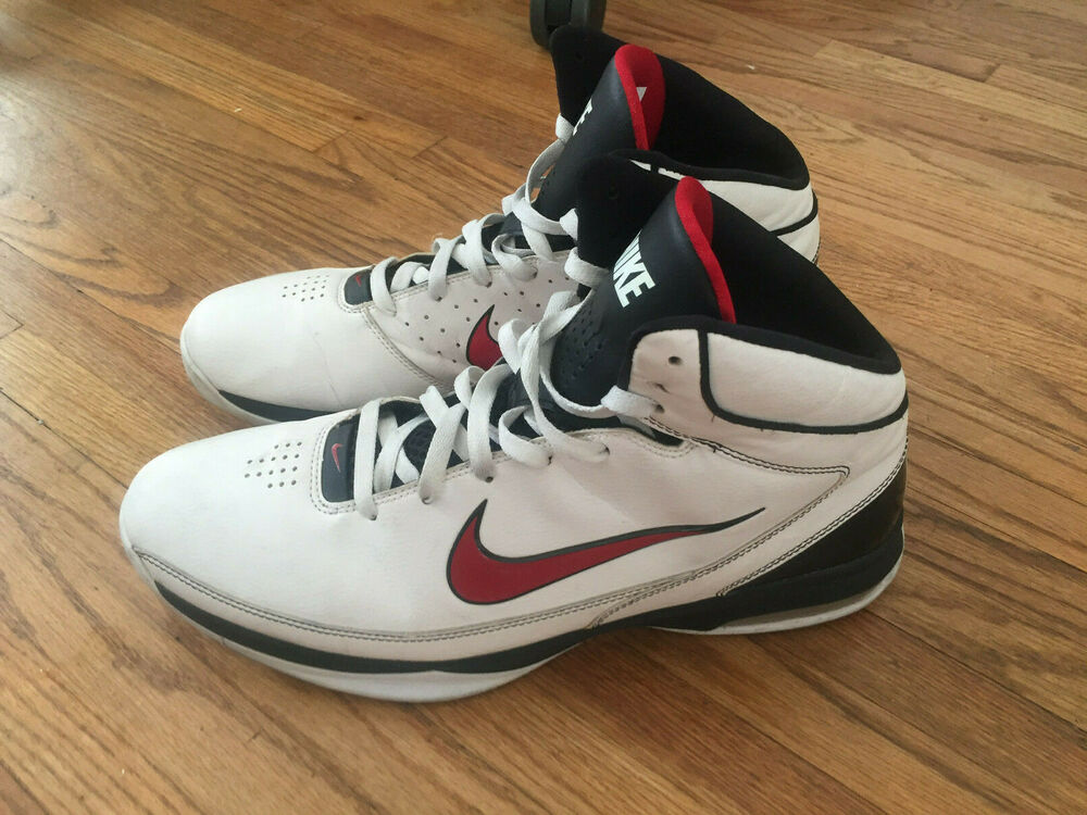 0b38a381fc7e Details about Nike Air Max Hyped White Red Black Basketball Sneakers Size  Men US 14