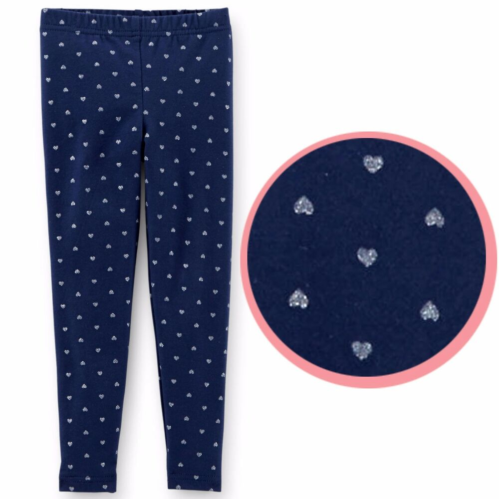 431b5b6da57b6 Details about Carter's baby toddler girl navy blue glitter silver heart  pattern leggings pants