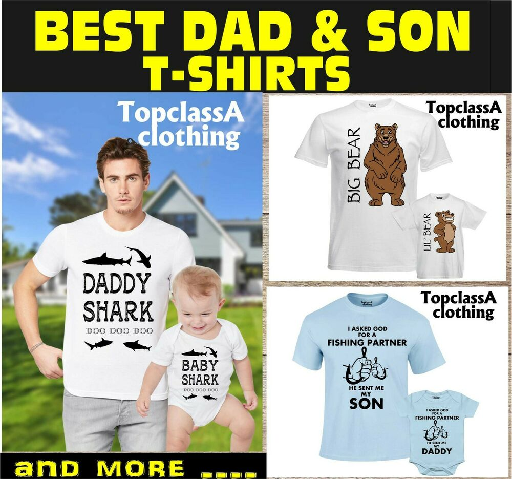 9e1f15753 Details about Dad Son Matching Shirts Daddy Daughter Father Baby Shark Bear  T-Shirt Tee Outfit