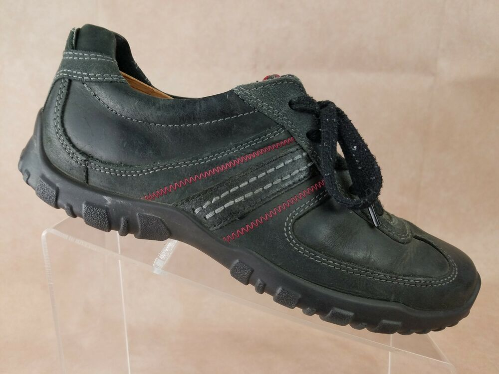 f4366eb8 Details about Ecco Mens Casual Sneaker Shoe Size 8.5 US 42 EU Black Red  Leather